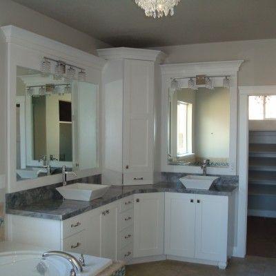 White bathroom double sinks double vanity corner vanity