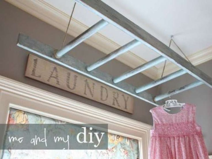 6. Use A Ladder As A Drying Rack! Lots of small laundry room organizational ideas!