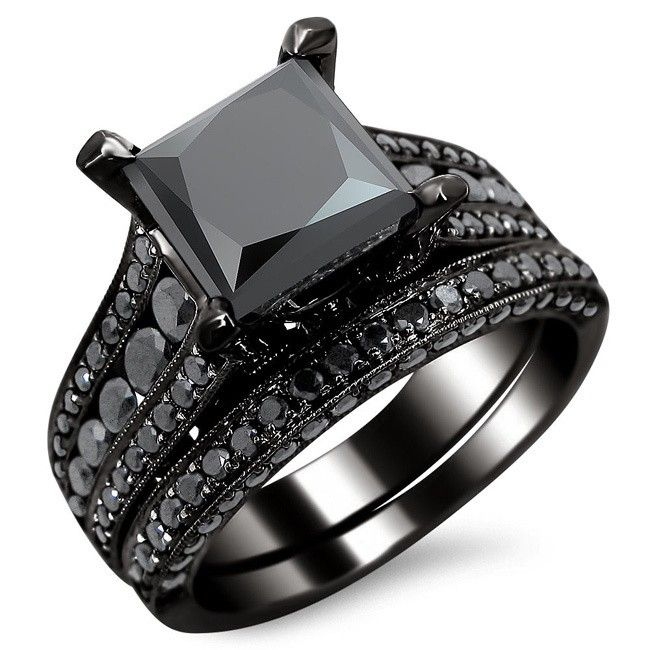 100 ideas to try about wedding rings  Black gold Black