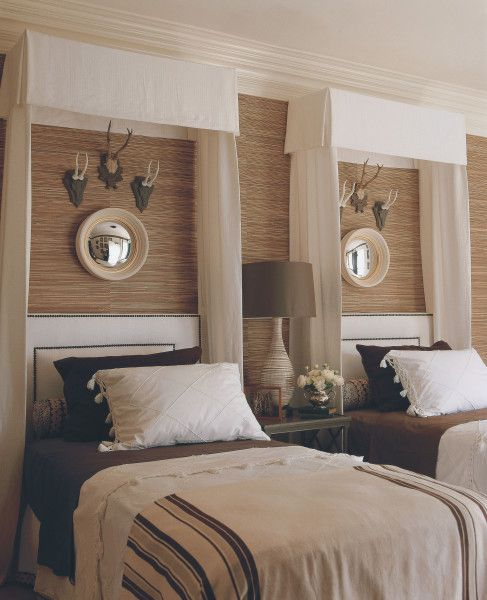 Mary McDonald Boy Room. Will would kill me if I added a canopy to his room. Love the antlers!