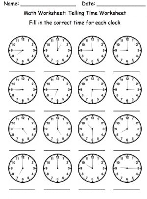time worksheet: NEW 36 TELLING TIME WORKSHEETS HOUR HAND ONLY