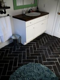 Herringbone Bathroom Floor luxury vinyl tile - DIY ...