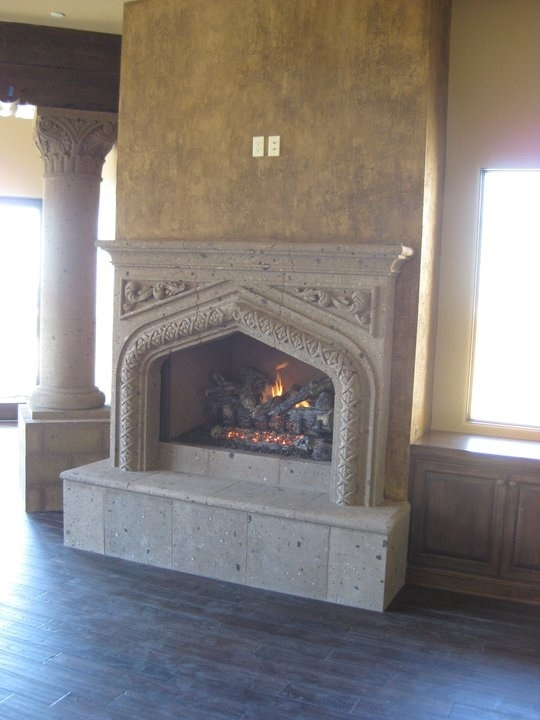 Tuscan Fireplace Gothic Arched Cantera Stone Fireplace And Faux Finish On