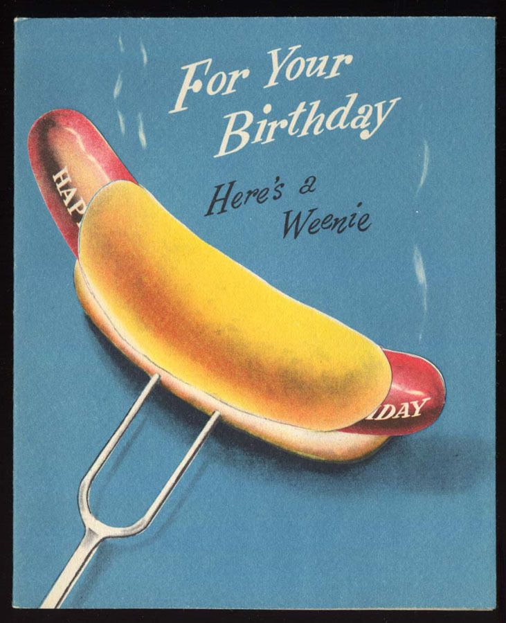 1950s HOT DOG Weenie MARTINI Happy BIRTHDAY Greeting CARD