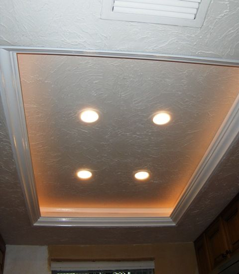reface old kitchen cabinets ceiling lights for another tray ceiling/recessed lighting idea to replace the ...