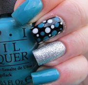 blue silver black nail design combo