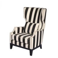 black and white wing chairs | Houston Striped Tall Wing ...