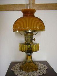 Aladdin amber Corinthian mantle lamp with amber rib shade ...