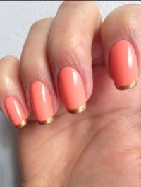 Coral base and gold French tips | Embellished nails ...