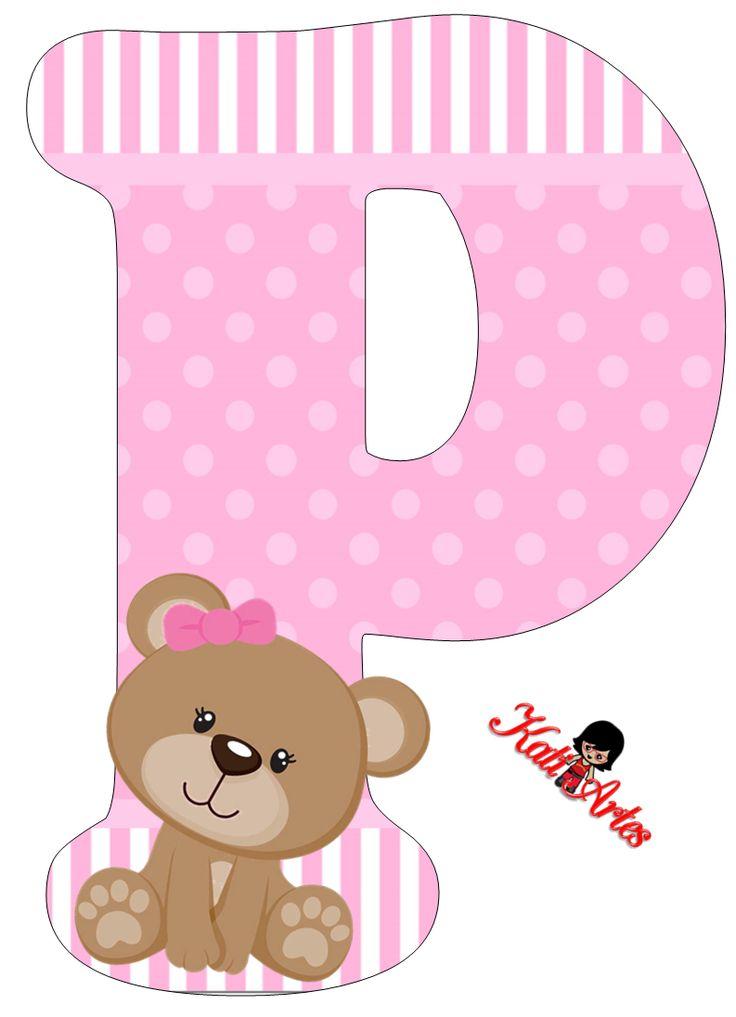 Alfabeto De Tierna Osita Con Fondo Rosa Oh My Alfabetos