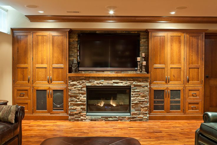 Rift Cut White Oak And A Ledge Stone FireplaceTV Surround