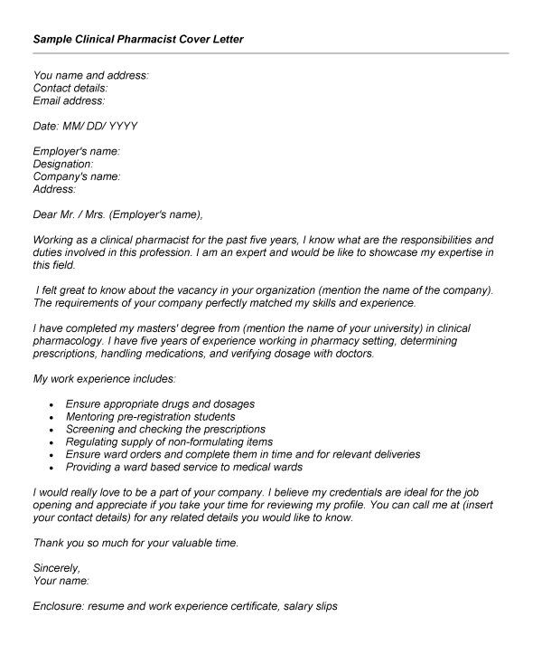 Pharmacy Cover Letter Example  adsbygoogle  windowadsbygoogle  push Pharmacy Cover