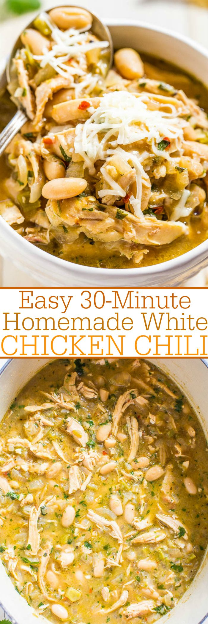 Easy 30-Minute Homemade White Chicken Chili – Hearty, healthy, loaded with tender chicken, and packed
