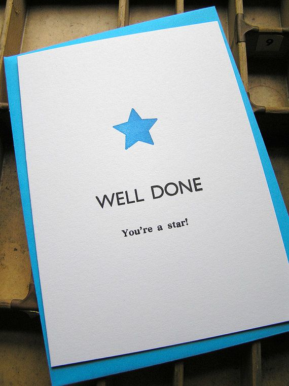Letterpress Greetings Card Well Done Youre A Star