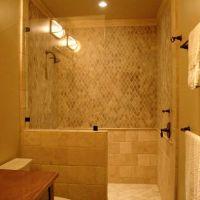 simple glass panel, walk in shower, no door, would build ...