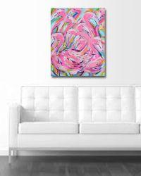 Flamingo Painting, large canvas, wall art, pink flamingos ...