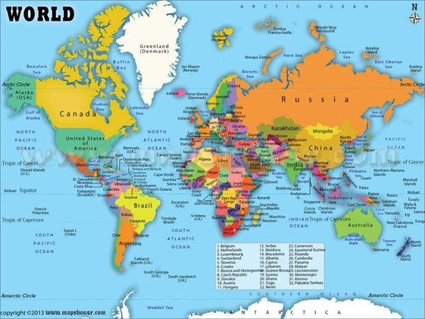 World Map with Countries Labeled maps Pinterest