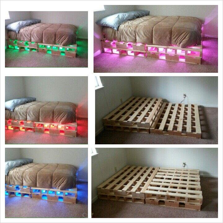 Pallet Bed With LED Lights Projects Ive Done