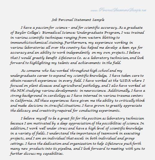 Job Application Personal Statement Resume Writing Format Sample