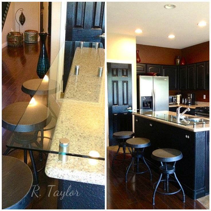kitchen island breakfast bar stainless steel cabinets ikea added tempered glass to raise and extend ...