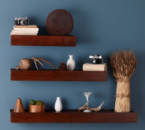 kitchen shelf display ideas country design rustic wood ledge, 2', mahogany stain | ...