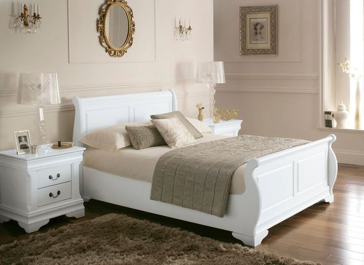 White Wood Sleigh Beds Louie Wooden Sleigh Bed White