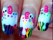 rainbow death cupcake nails