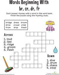 Consonant blends, Worksheets and Crossword on Pinterest