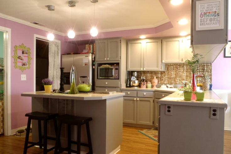Kitchen Whimsical Purple Gray Painted Cabinets Our
