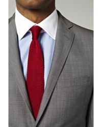 Light grey suit, light blue shirt with white collar, red ...