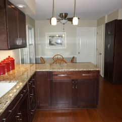 Cherry Wood Kitchen Cabinets Macys Aid Mixer Merillat Classic Cabinetry, With Pecan Stain. Full ...