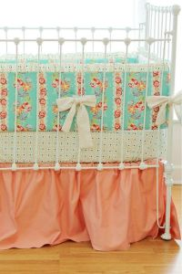 Mint and Peach Hope Chest Crib Bedding Set- OOP fabric ...