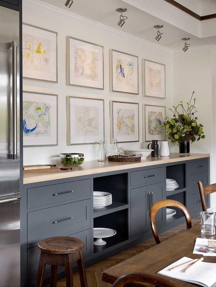 open lower kitchen cabinets  Open shelving on lower