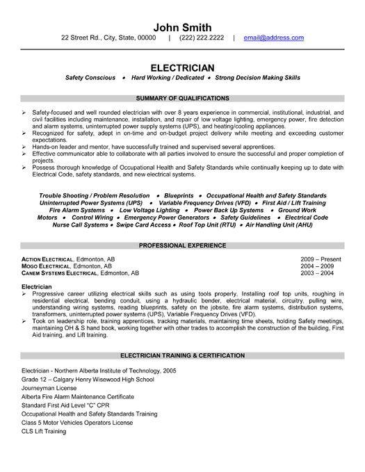 Resume Example Electrician  Augustais