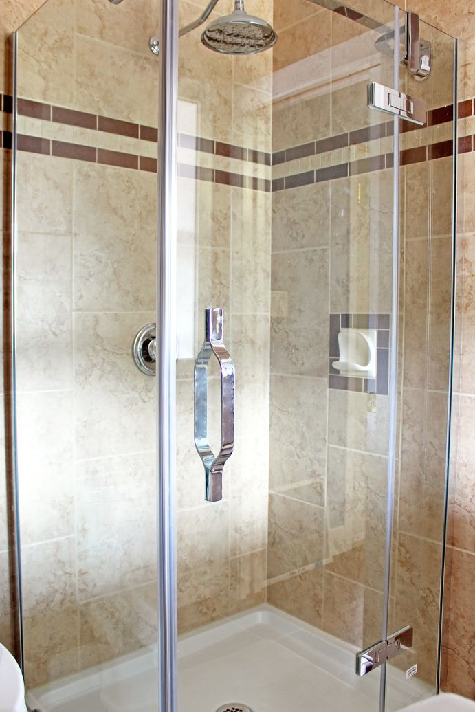 New shower stall tiled floor to ceiling  Bathroom ideas