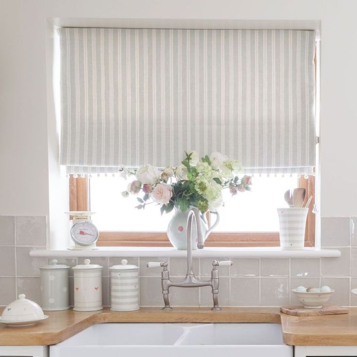 Kitchen Curtains Ivory Wall Tiles Grey Blinds