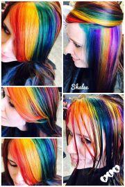 rainbow haircolor blue yellow green
