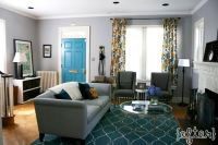 Gray, Teal & Gold Living Room with teal trellis rug, gray ...