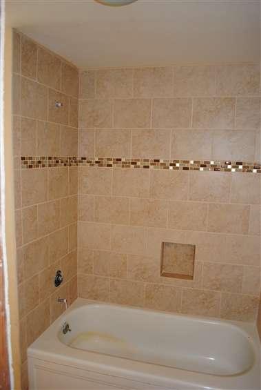 Mosaic Strip In The Tub Shower Wall Tile Bathroom