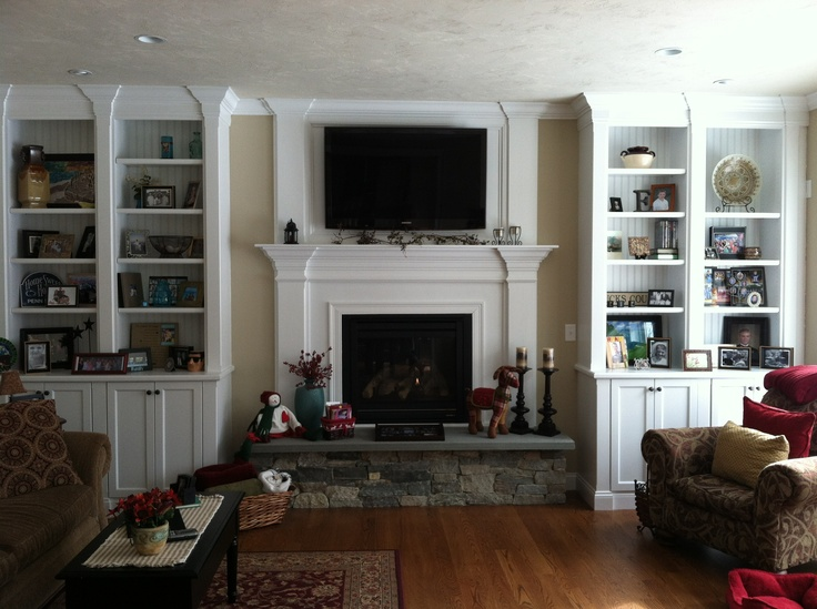 Fireplace with bookcases  French Country Farmhouse