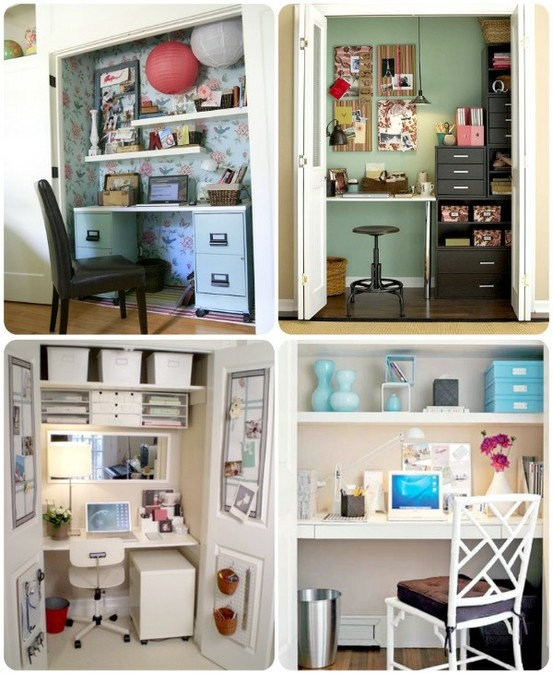 how to turn a closet into an office  For the Home
