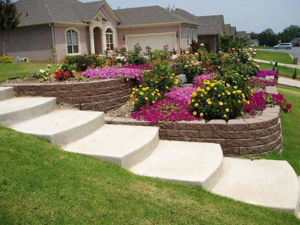 steep sloped yard landscaping