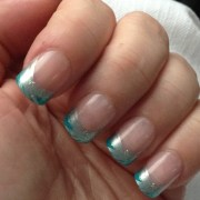 teal and silver french tip nails
