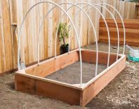 1/2 inch PVC pipe over garden box OR-----square it off ...
