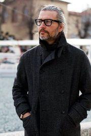 grey hair glasses and beard man