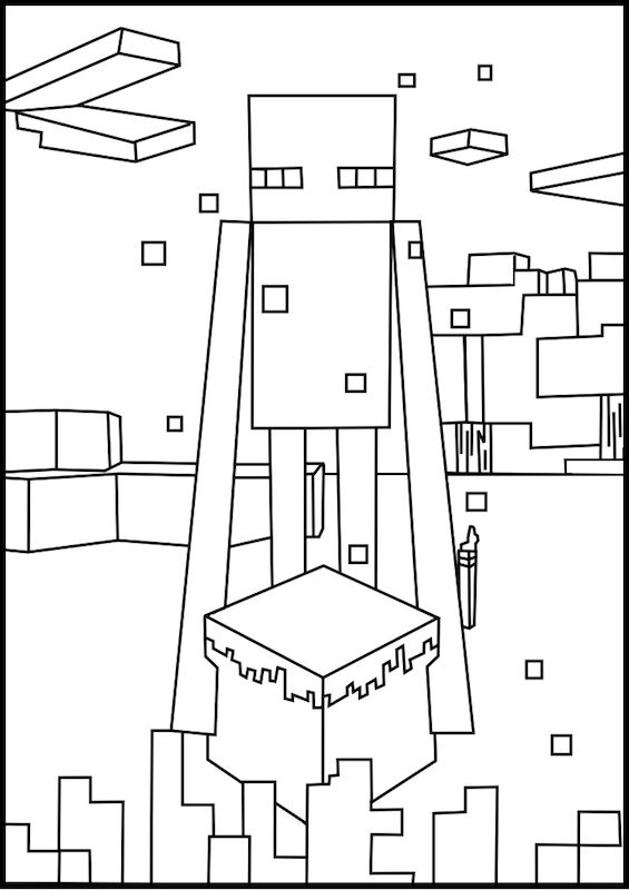 A free, printable Minecraft Enderman coloring page found