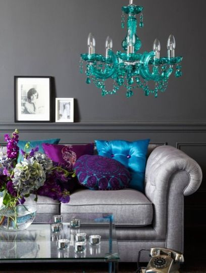 purple and gray bedroom color scheme Aqua & Purple Bursts - would love this color scheme in our