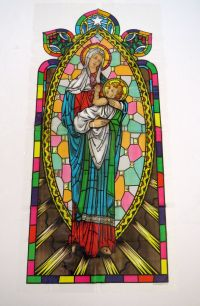 Vintage Plastic Stained Glass Madonna and Child Window ...