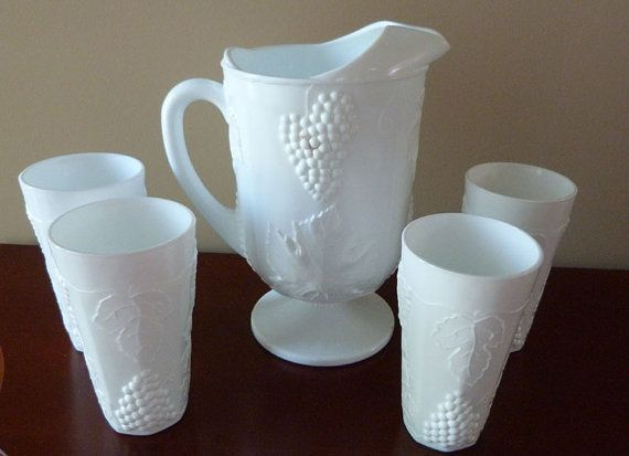Vintage Milk Glass Pitcher with Four Glasses by ThingsofOld 2950  Milk GlassPlease let me