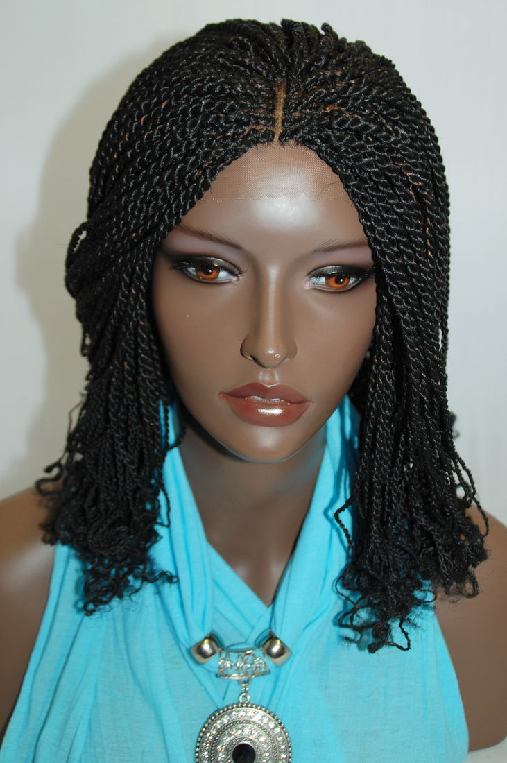Fully Hand Braided Lace Front Wig Kinky Twist Color 1B